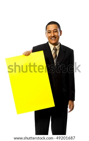 Business Man Hold A Yellow blank sign isolated on white background. You can put your message on the sign - stock photo
