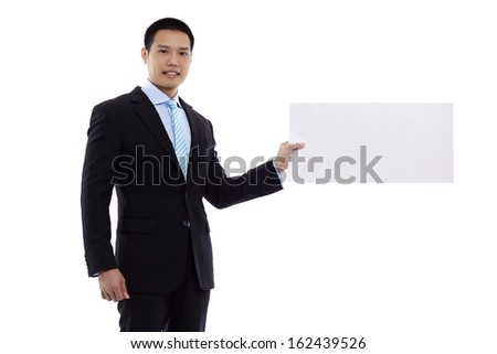 Business man hold blank paper isolated on white background, asian male model
