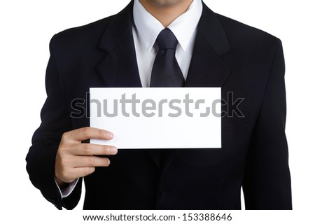 Business man Hold blank placard in isolated