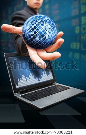 Business man hold digital world and stock exchange graph report