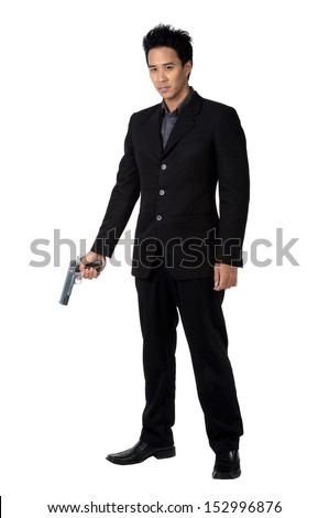 business man  Hold gun isolated