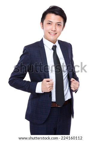 Business man hold with his collar