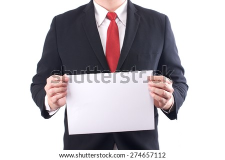 business man holding a blank paper
