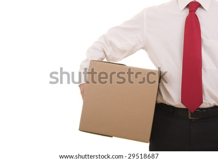 Business man holding a cardboard box isolated on white