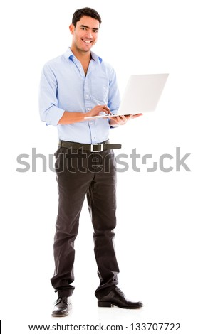 Business man holding a laptop - isolated over a white background - stock photo