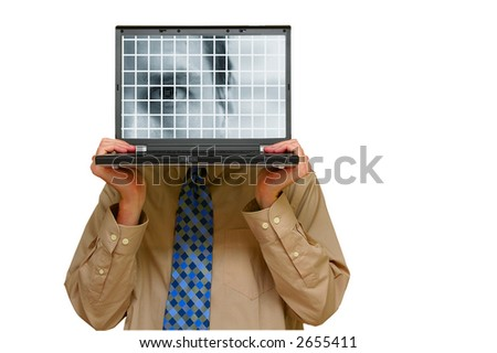 """Business man holding a laptop with a """"digital eye"""" security image - stock photo"""