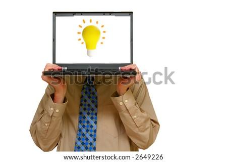 "Business man holding a laptop with an ""idea"" lightbulb - stock photo"