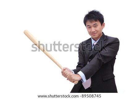Business man holding baseball bat with friendly smile, it's time for home-run - stock photo