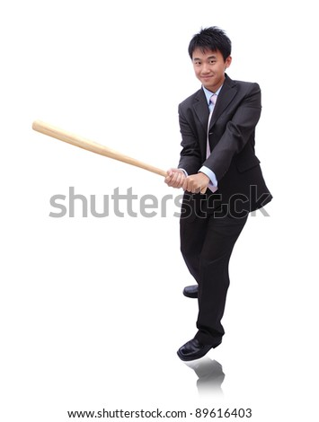 Business man holding baseball bat with friendly smile, it's time for homerun