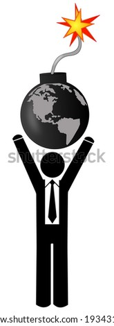 business man holding earth that is detonated as a bomb - stock photo