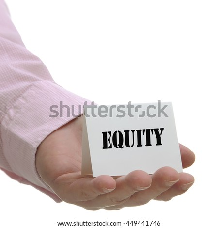 Business man holding equity sign on hand - stock photo