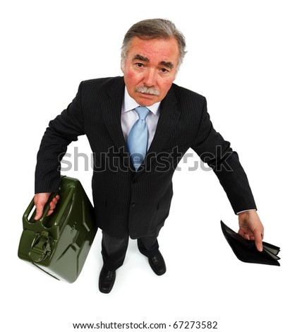 Business man holding gas can and showing empty wallet