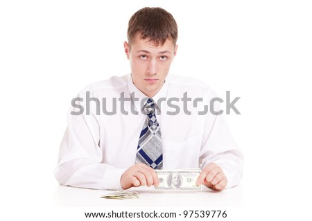 Business man holding money on a background