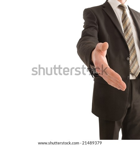 Business man holding out his hand with copy space isolated on white - stock photo