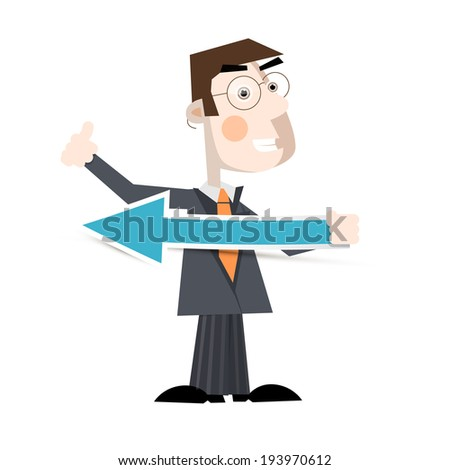 Business Man Holding Paper Arrow Illustration