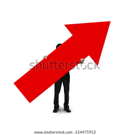 business man holding red arrow sign isolated on white - stock photo