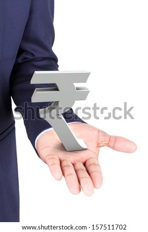 Business man holding rupee currency symbol, isolated on white background - stock photo