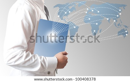 Business man holding smart phone with money in dollar sign coming to the phone