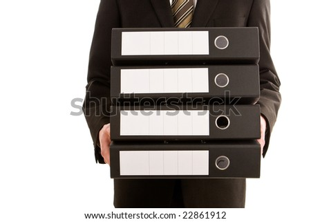 Business man holding three folders isolated on white - stock photo