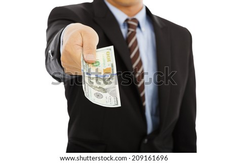 business man holding us dollar money. isolated on white background - stock photo