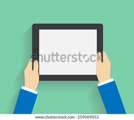 Business man holds holding tablet computer with white blank screen. Using digital tablet pc. Flat design concept with copy space.  illustration  - stock photo