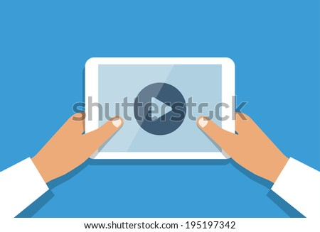 Business man holds in hand white tablet pc with opened online media player and round button at center of screen. Mobile technology concept illustration in flat style