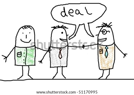 business man illustration with handshake showing contract illustration