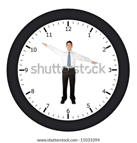 business man in a clock pointing at a certain time - stock photo