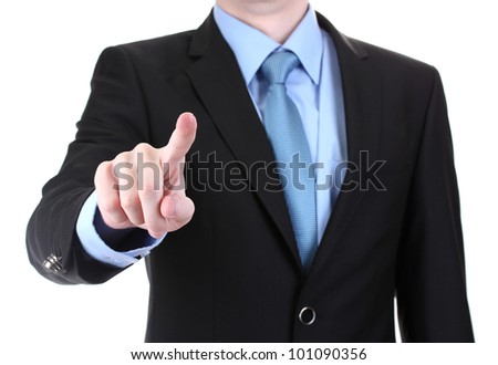 business man in a suit pointing on a screen isolated on white - stock photo