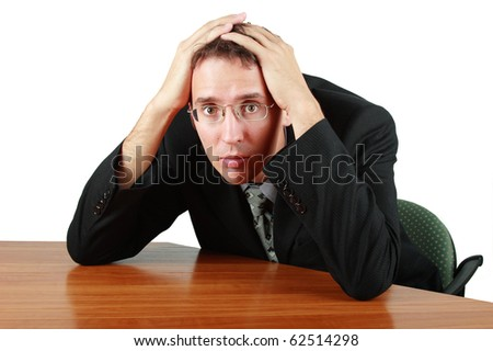 Business man in big trouble - stock photo