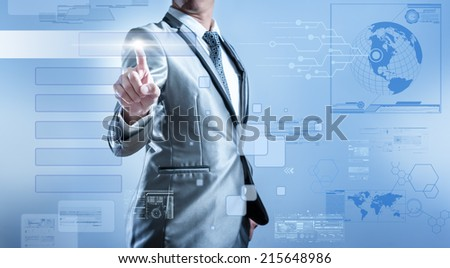 Business man in blue grey suit pressing on button of digital virtual screen business concept of marketing strategy plan, designable for input words