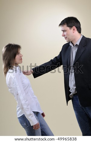 business man in conflict with his colleague - stock photo