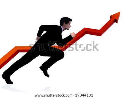 Business man in dynamic running pose, runs parallel to a successful growth diagram. Clipping path included for man. 3D rendering and digitally painted illustration. This is not an actual person.