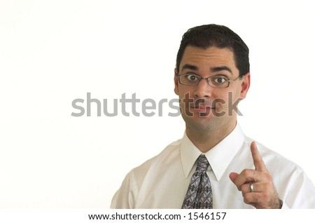 Business man in glasses raises index finger to make point - stock photo
