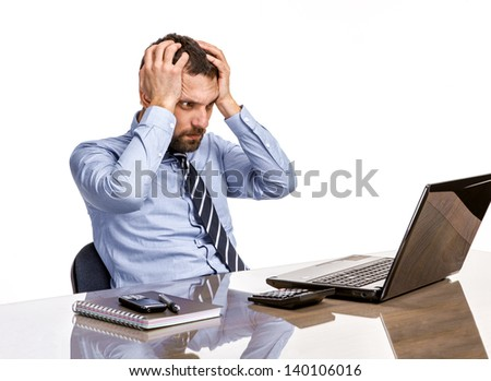 Business man in office with burnout syndrome at desk  - stock photo