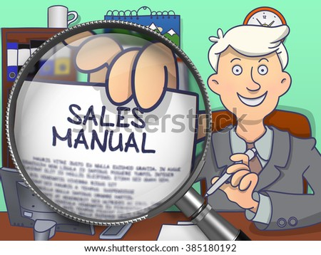 Business Man in Office Workplace Shows Paper with Inscription Sales Manual. Closeup View through Magnifying Glass. Colored Doodle Style Illustration. - stock photo