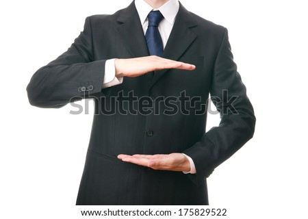 Business man in suit on white background. - stock photo