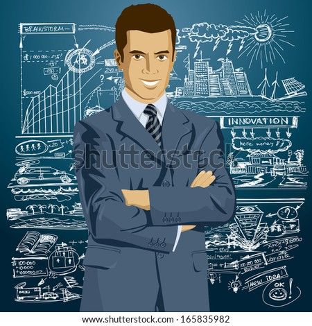 Business man in suit with folded hands - stock photo