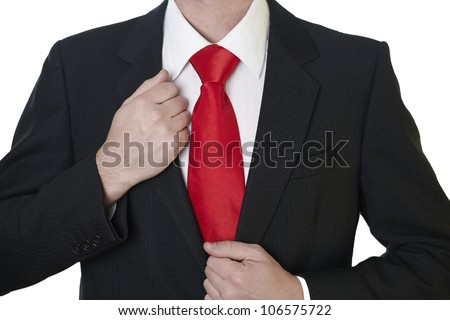 business man in suit with red tie
