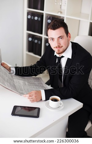 business man in the office shows that all great - stock photo