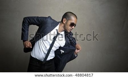 Business man is ready to get to his meeting - stock photo