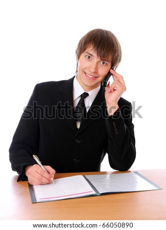 business man is speaking on cell phone. Isolated at white background - stock photo