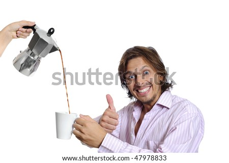 Business man is super happy that his coffee is hot - stock photo