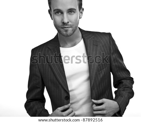 business man. Isolated over white background. Black-white photo.