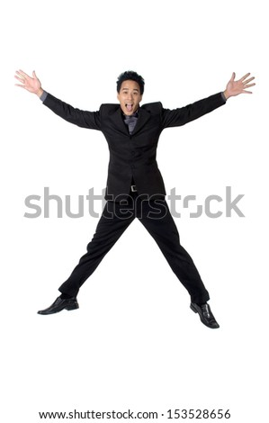 Business man jump and raise one's hand Glad isolated