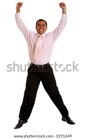 Business man jumping of joy - isolated over a white background