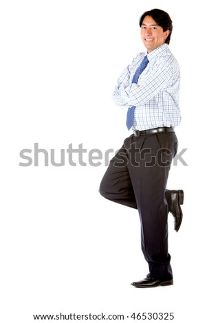 Business man leaning on a wall isolated over a white background - stock photo