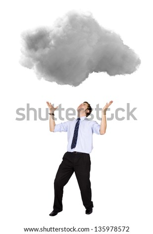Business man lifting a cloud - isolated over a white background - stock photo