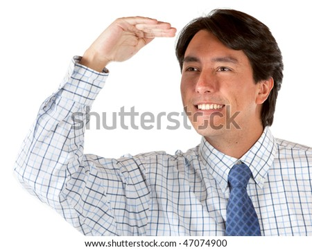 Business man looking something away isolated over a white background - stock photo