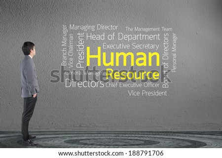 Business man looking wording Human Resources (HR) over gray wall